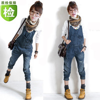 2013 loose denim bib pants female plus size spaghetti strap jumpsuit pants