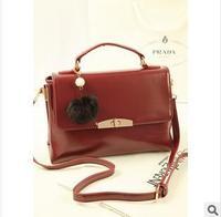 2013 fashion women's elegant korean plush ball hangings handbags lady black red messenger bag elegant totes SF483