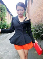 Top quality one shoulder elegant slim waist girl suit outerwear