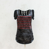 2012 autumn new arrival slim rhinestones velvet short-sleeve T-shirt basic shirt female