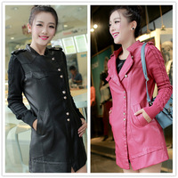 Women's 2013 autumn medium-long leather clothing knitted outerwear ccddd iam27