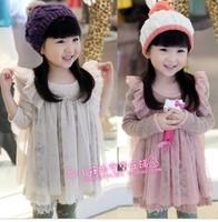 Free shipping 2013 autumn female child lace long-sleeve dress yarn knit dress  1pcs/lot