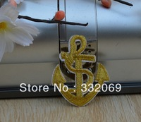 PT40 cheap high quality diy Gold thread anchor embroidery badge patches accessory applique 3.8*4.8 cm Free shipping