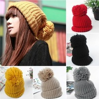Women Winter Slouch Knit Cap Warm Oversized Cuffed Beanie Crochet Ski Bobble Hat