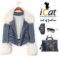 2013 Winter Women Faux Fur Trim Detachable Collar Thermal Fleece Denim Coat Jacket