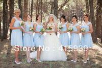 Real sample short knee length chiffon light blue bridesmaid dress brides maid dress BN101