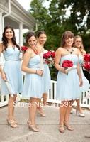 High quality strapless knee length chiffon light blue short bridesmaid dress brides maid dress BN102