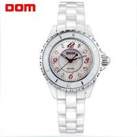 HOT DOM new Watch women's fashion watch white ceramic watch rhinestone the trend of fashion 200M waterproof ladies watch