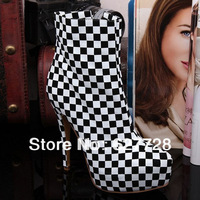 16CM Black And White Plaid Fashion Women Boots,New Arrival Ankle Boots