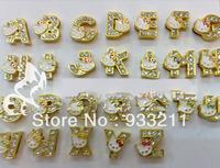 260pcs 8mm golden color rhinestone KT slide letters fit 8mm pet collor belt