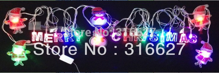 Free shippig LED Christmas light string lights Merry Christmas and Santa Claus 4M 20leds 220V party wedding lights(China (Mainland))