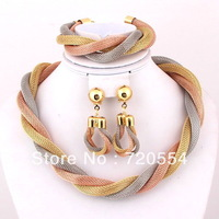 Free shipping excellent designer three colors gold plated chunky necklace fashion wholesale wedding jewelry sets