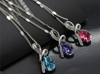 5pcs/lot High Quality Austrian Crystal Teardrop Angel Pendant Unique Necklaces For Women Fashion Jewelry 2013 Hot Style