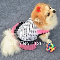 Free Shipping! Small Pet Dog Mini Prince Dot Pattern Summer Skirt Lovely Cake Skir Clothes Apparel Vest Type Black White XS  M L