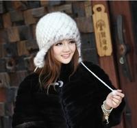 korean women cute  fur hats  100%  genuine mink hair  fur caps  winter warm  keep ear warm christmas gift  free & drop shipping