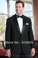custom made groom wedding  wear black two piece wool suits bespoke  groom tuxedos