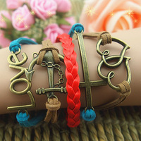 Fashion vintage romantic love dcrv anchor fashion multi-layer leather bracelet accessories