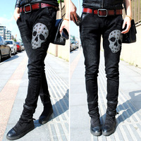 Black embroidery silver skull rivet skinny jeans harem pants women's plus size