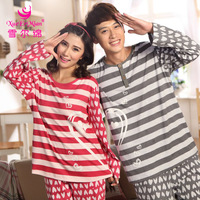 For Women and Man,Plus Size,New Arrival Fashion Spring/Autumn Lovers Sleepwear long-sleeve Cotton o-neck lounge Pajama Sets
