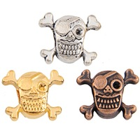 53pcs Jewelry Findings floating tibetan Skull Metal Square shape Spacer Beads gold charms pendant findings for jewelry making