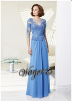 CO2177 New Arrival Half Sleeve Embroidery Lace Beaded A-line Chiffon Special Occasions Light  Blue Elegant Evening Dress