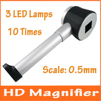 10X21mm LED Lighted Metal Magnifier Handheld Illuminated Magnifying Glass Loupe with Scale for Jade Jewelery Identification