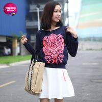 As 2013 women's fashion loose neon color print sweatshirt 9340216