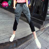 As 2013 women's fashion color block chiffon patchwork female harem pants casual trousers 9345201