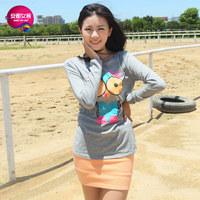 As 2013 women's o-neck cotton 100% owl print long-sleeve T-shirt 9341218