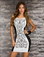 M L Plus Size 2013 New European Fashion Women Retro Printed Black and White Patchwork Bodycon Clubwear Party Dress 9023