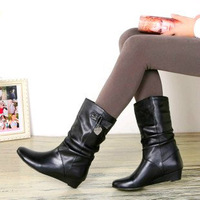 Genuine leather wedges female boots cowhide martin boots plus size