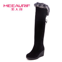 2013 rabbit fur wedges knee-length boots high-heeled boots high-leg tall boots