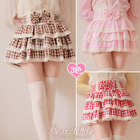Princess sweet lolita skirt Soft amo high waist bow pink plaid laciness puff cake bubble short skirt culottes mini skirt bobon21