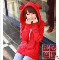 Autumn women's thickening cardigan sweatshirt cute ears women's autumn and winter loose plus size
