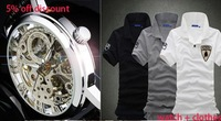 win016 stainless steel wristwatch men mechanical watch + sport men clothes T-shirt set super discount