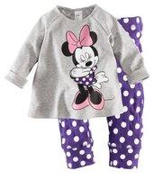 100% cotton 1pc retail 2-7 years  kids pajama set girl girls sport set