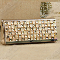 Gold New Elegant Mini Evening Bag diamond Clutch Women's Lady Shinning beautiful bolsas Bag Purse Wallet Golden/silver  bolsos