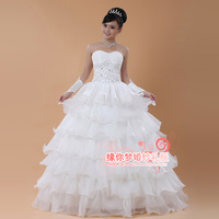 Free Shipping 2013 Suzhou Huqiu Outlet Selling New Fashion Ruffles Decoration Appliques Wedding Dress
