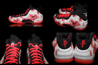Free Shipping Wholesale Top Quality Air Foamposite One Men's Sports Basketball Shoes (White/Crimson Red/Pink) Size:8---13
