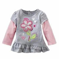 New 6pcs/lot baby girl t shirt kids Children Tops Tees spring-summer Wear Long Sleeve children clothes flower tshirts kids