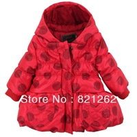 2013 new catimini winter children clothing girls polka dot jacket coat fashion hooded outerwear 2-6T brand fashion high quality