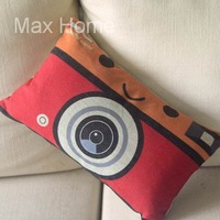 """Free Shipping 20"""" Red Camera Design Retro Vintage Style Linen Decorative Waist Pillow Case Pillow Cover Cushion Cover"""