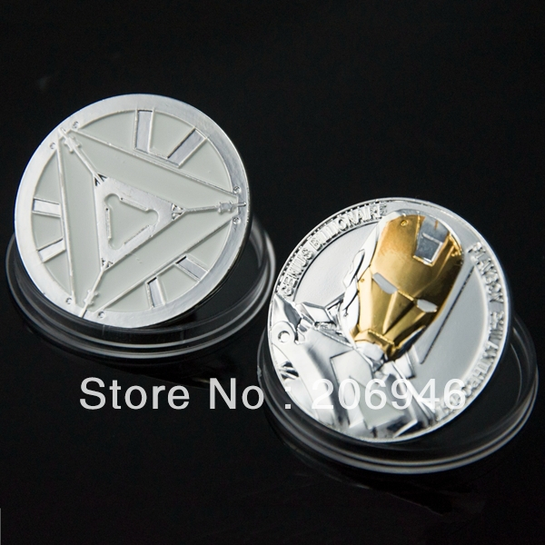 10pcs/lot free shipping Non-magnetic The Avengers Iron Man Challenge Christmas Halloween Gift Coins(China (Mainland))