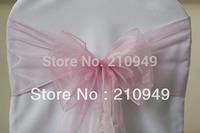 150pcs pink sashes  for chairs  free shipping pink organza sash