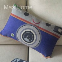 "Free Shipping 20"" Blue Camera Design Retro Vintage Style Linen Decorative Waist Pillow Case Pillow Cover Cushion Cover"