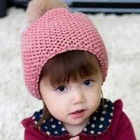Children rabbit fur ball wool hat knitted hat winter baby girl