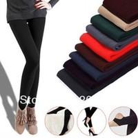 wholesale and free shipping fashion 90cm Autumn Korean brushed Leggings Nine minutes of pants many colors mix