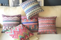 "Free Shipping 5 pcs/lot 18"" Geometric Pattern Theme 1 Vintage Linen Decorative Throw Pillow Case Pillow Cover Cushion Cover Set"