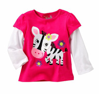 2014 New cartoon Lovely zebra T Shirt children tees cotton shirt girls T-shirts long Sleeve kids Printed T Shirts Free Shipping