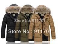 Hot Branded Winter Super Warm Man's Down Jacket Big Fur Man Down Coat Long Style Winterwear 90% White Duck DownJK